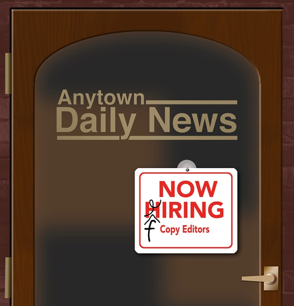 Now hiring sign on editorial office doors