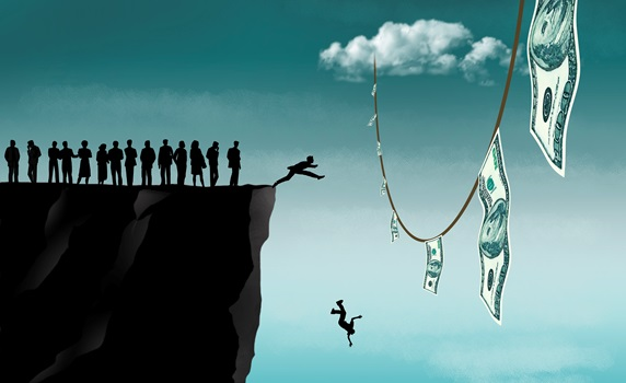 People falling from cliff reaching for banknotes hanging on sky