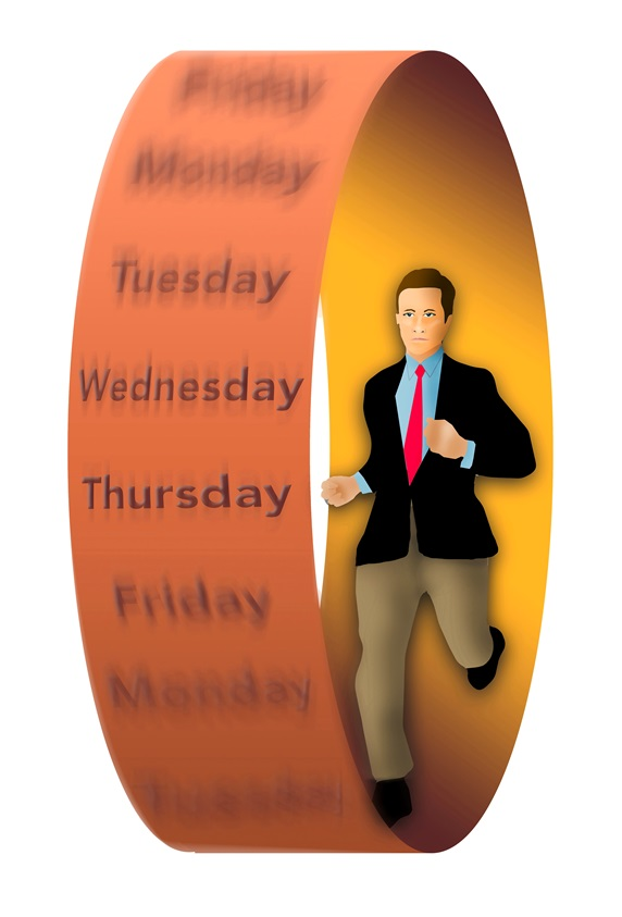 Businessman running in wheel with days of week