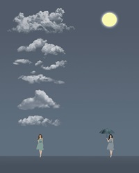 Two women against sky with clouds and sun
