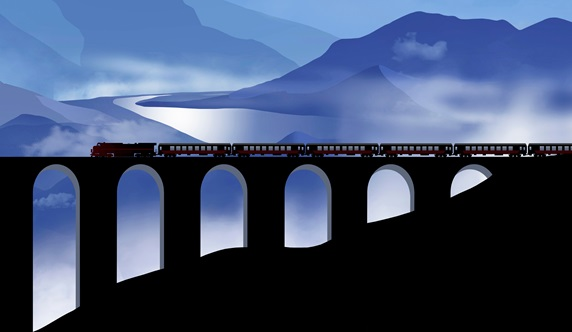 Steam train crossing railway viaduct in mountainous landscape