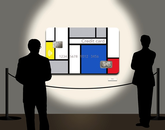 Silhouettes of two men looking at Mondrian's style credit card in gallery
