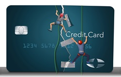 Rock climbers sticking tape on broken credit card