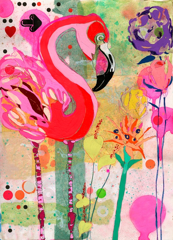 Bright color Flamingo and flowers