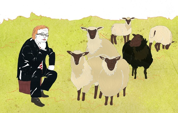 Businessman and sheep