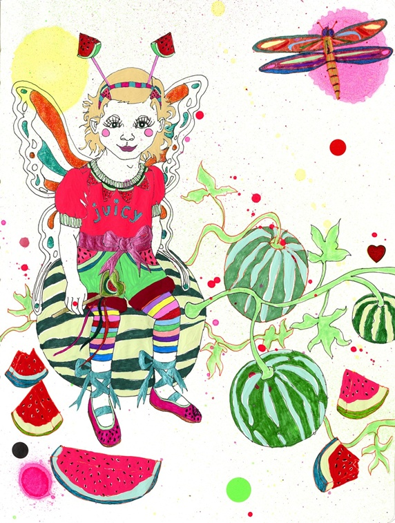Girl with costume wings sitting on watermelon