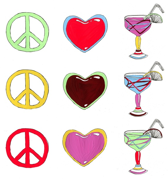 Peace symbols with hearts and cocktails