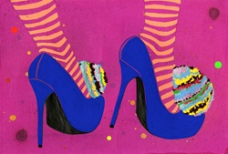 Low section of woman's feet in striped tights wearing bright blue stilettos with multicolored pom poms