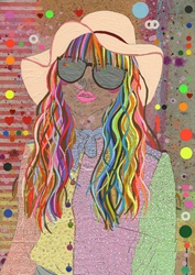 Young woman with multicolored hair wearing sunglasses and sun hat