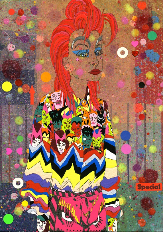 Redhead woman wearing colorful costume