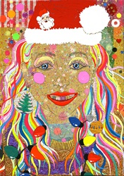 Woman with colorful hair wearing santa hat