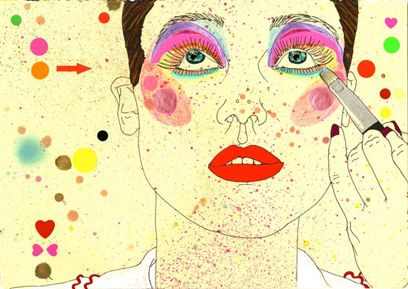 Woman with colorful make-up