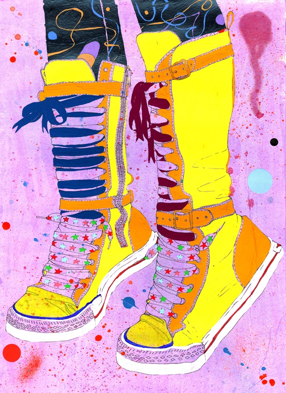 Yellow boots with colorful laces