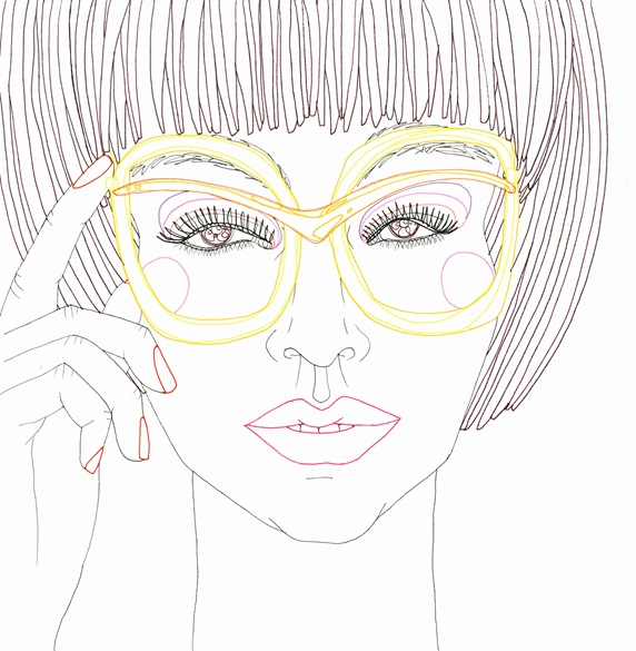 Close up of young woman wearing funky yellow glasses