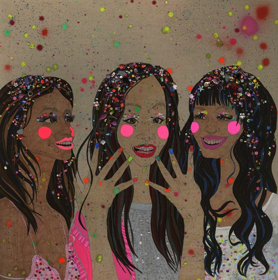 Three friends wearing sequins and glitter nail varnish