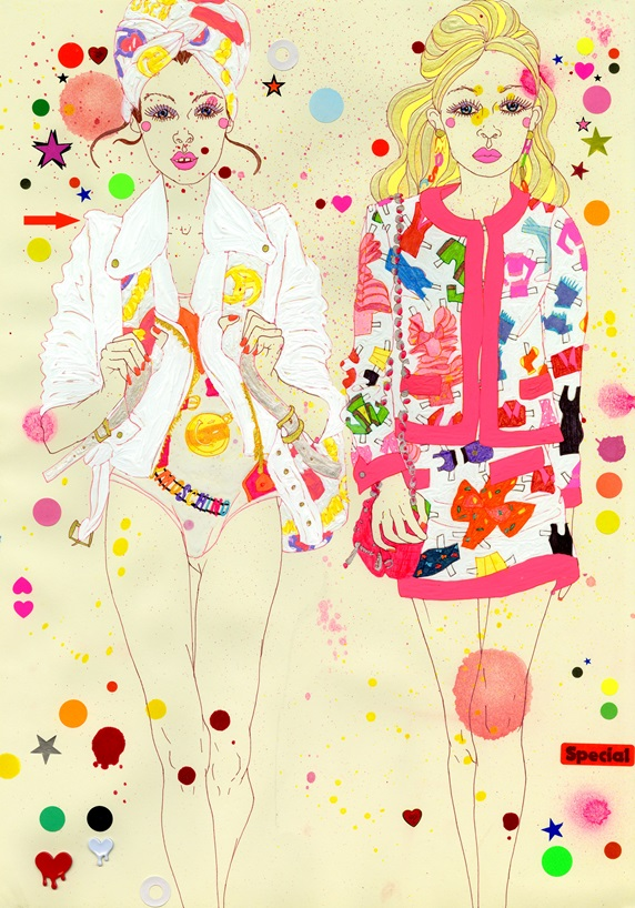 Two young women  wearing vibrant clothes