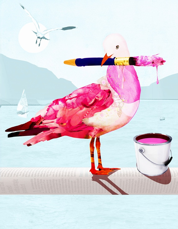 Seagull covered with pink paint holding paintbrush