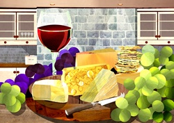 Still life with cheese, grapes and red wine