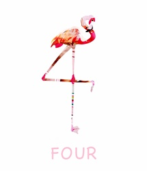 Pink flamingo standing against white background