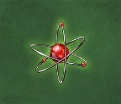 Atom symbol with orbiting electrons