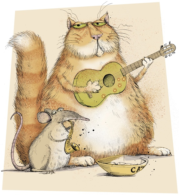 Cat and mouse playing music