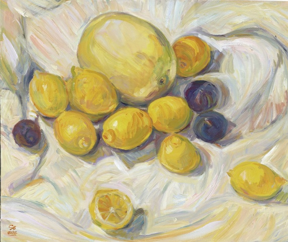 Lemons with plums and melon