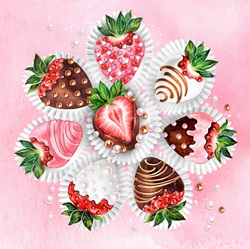 Decorated chocolate coated strawberries