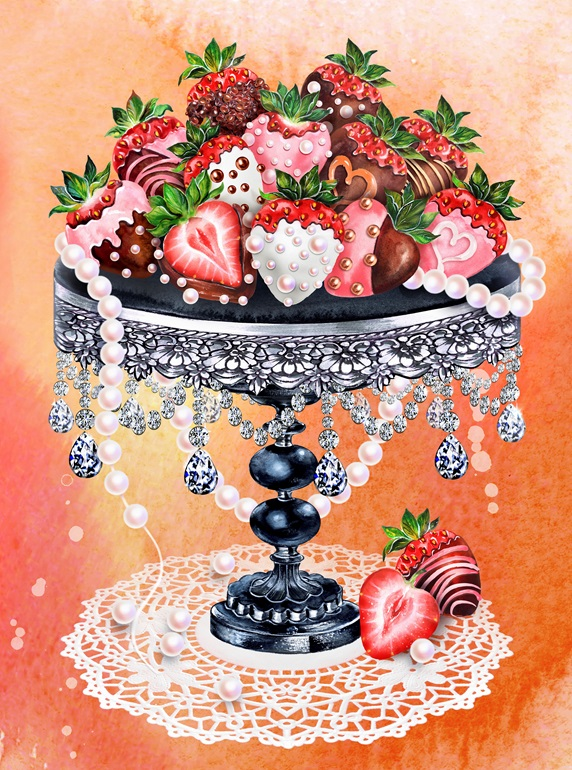Heap of decorated chocolate coated strawberries on ornate cakestand