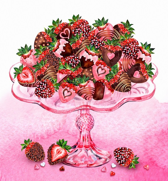 Heap of chocolate coated strawberries decorated with hearts on glass cakestand