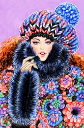 Fashion model wrapped in multicoloured hat and poncho with fur trim