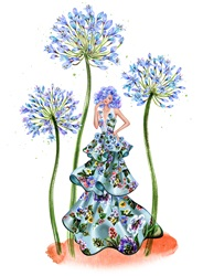 Woman wearing floral dress standing amongst blue flowers