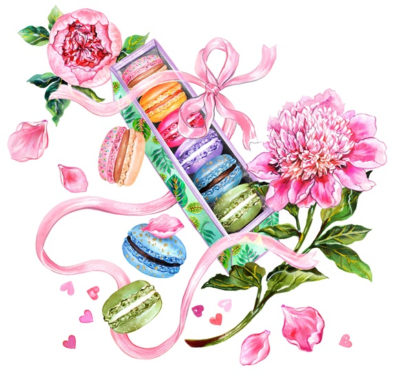 Row of colorful macaroons in box and pink peonies