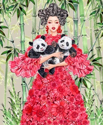 Fashion model in floral dress posing with panda cubs