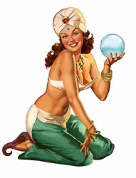 Retro vintage pin-up girl fortune teller in gypsy costume