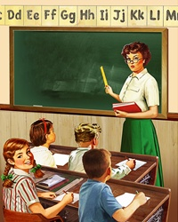 Retro vintage elementary school teacher and pupils in classroom