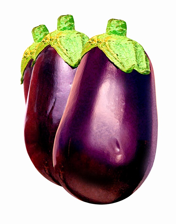 Three aubergines in a row