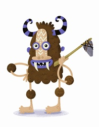 Happy alien caveman monster holding handmade axe