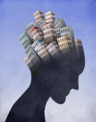 Man with buildings on head
