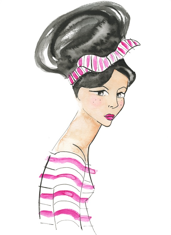 Woman with hair bun and striped shirt