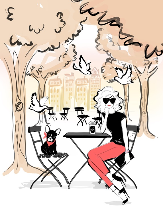 Fashionable woman sitting at table in sidewalk cafe with French bulldog puppy
