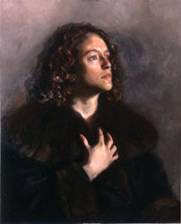 Portrait of young man with curly hair