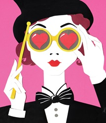 Portrait of woman wearing top hat, bow tie and glasses with red hearts, holding magic wand