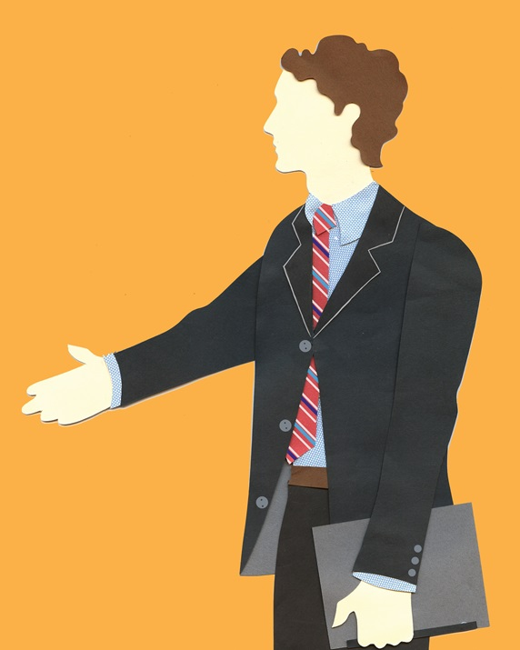 Side view of man reaching out hand on orange background