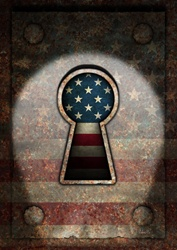 Close-up of keyhole with american flag