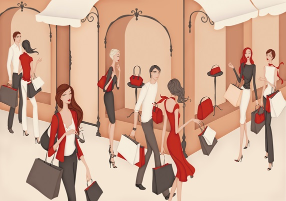 Elegant wealthy men and women shopping outside of department store
