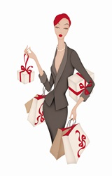 Elegant woman with shopping bags and parcels