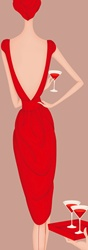 Rear view of elegant woman wearing red backless dress drinking cocktail