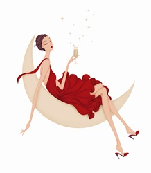 Elegant woman drinking champagne reclining on crescent moon