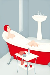Female taking bath in red bathtub