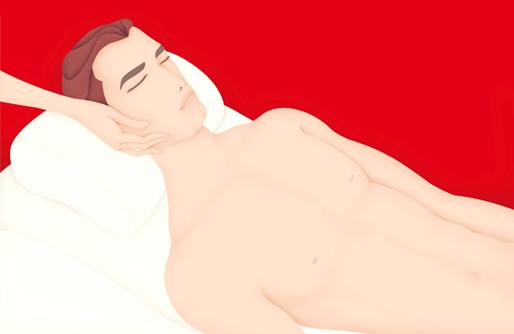 Shirtless man having beauty treatment, red background